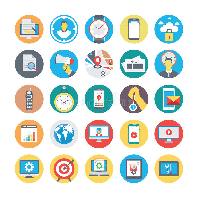 SEO and Marketing Colored icons Icons 2. Set of seo and marketing colored icons stock illustration