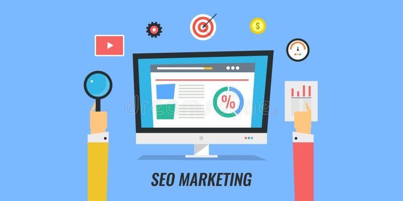 Seo marketing, digitale media die, websiteoptimalisering, voorzien van een netwerk, seo planning op de markt brengen vector illustratie