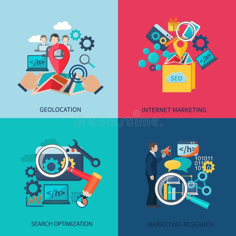Seo Marketing Flat Icons vektor illustrationer