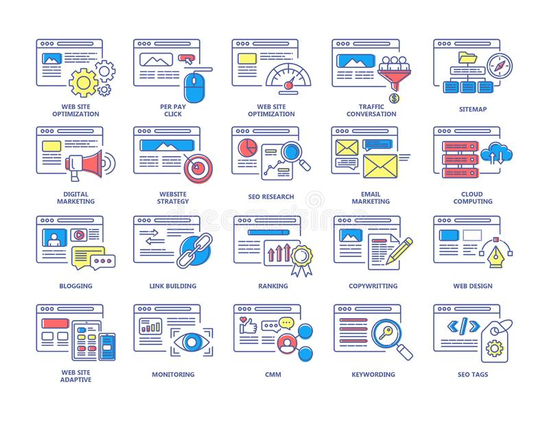 SEO and digital marketing color line icons set. vector illustration