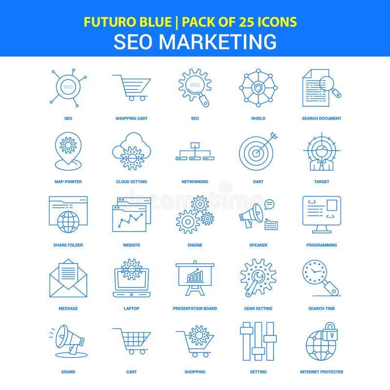 SEO Marketing Icons - Ikonensatz Futuro-Blau-25 vektor abbildung