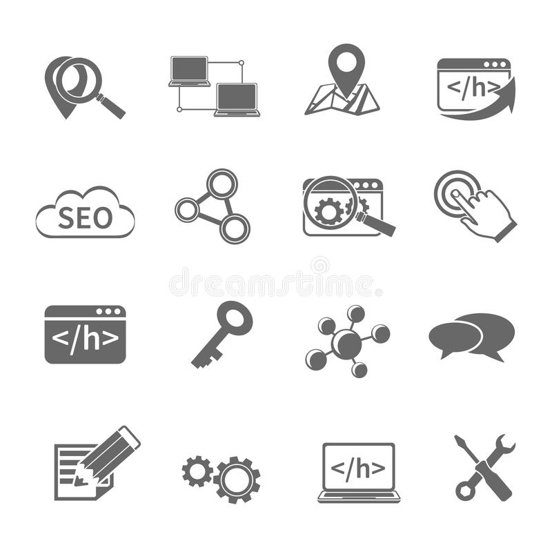 Seo Marketing Icons Set royaltyfri illustrationer