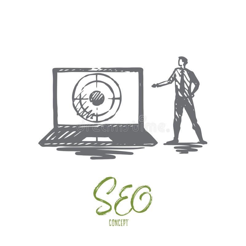Seo, marketing, optimalisering, onderzoek, media concept Hand getrokken geïsoleerde vector royalty-vrije illustratie