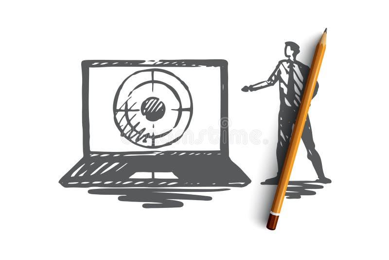 Seo, marketing, optimalisering, onderzoek, media concept Hand getrokken geïsoleerde vector vector illustratie