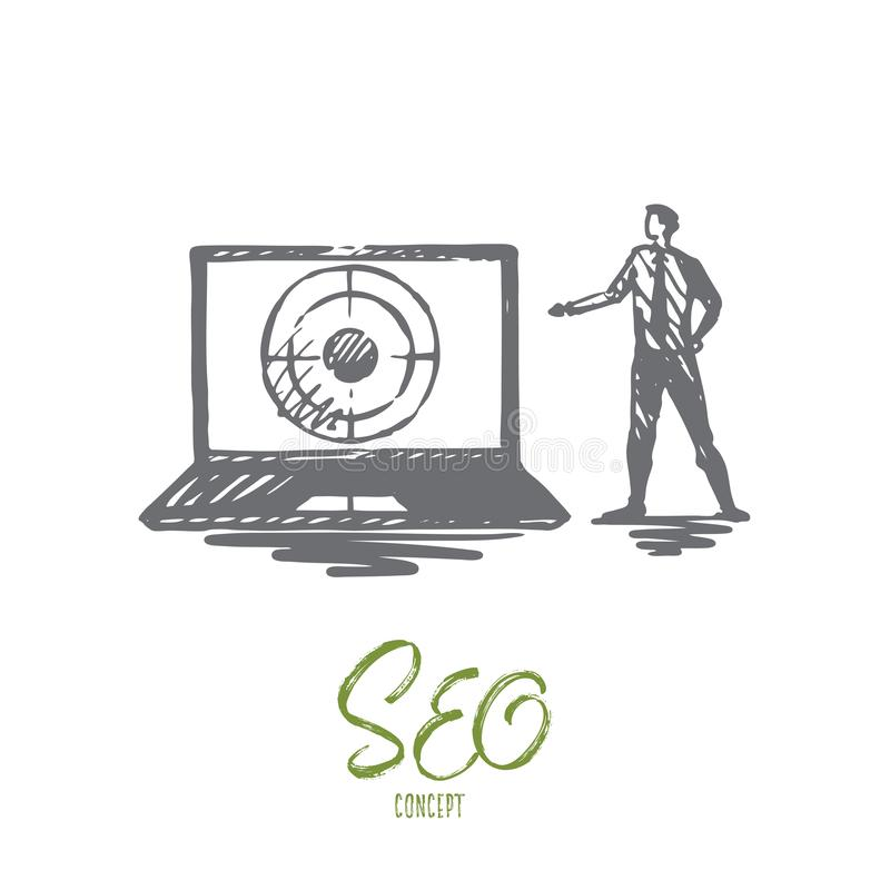 Seo, marketing, optimization, search, media concept. Hand drawn isolated vector. Seo, marketing, optimization, search, media concept. Hand drawn seo manager and royalty free illustration