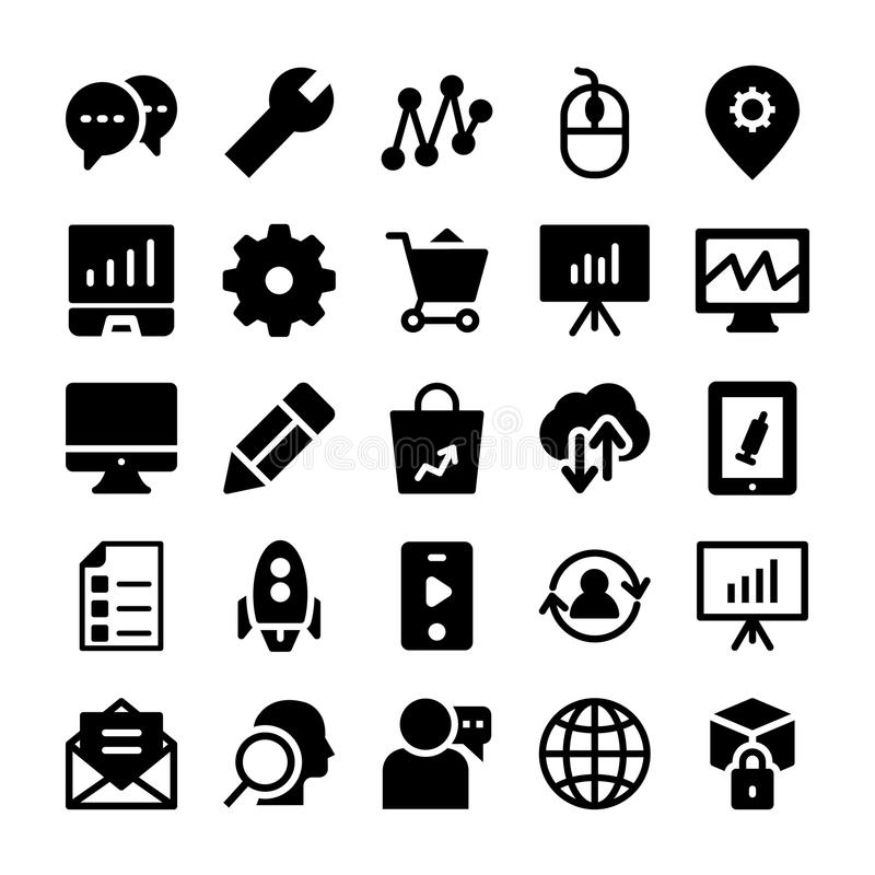 SEO and Marketing Solid Icons 4 stock illustration