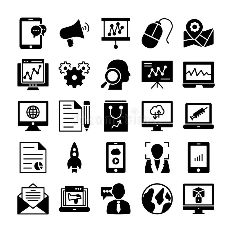 SEO and Marketing Solid Icons 4 royalty free illustration