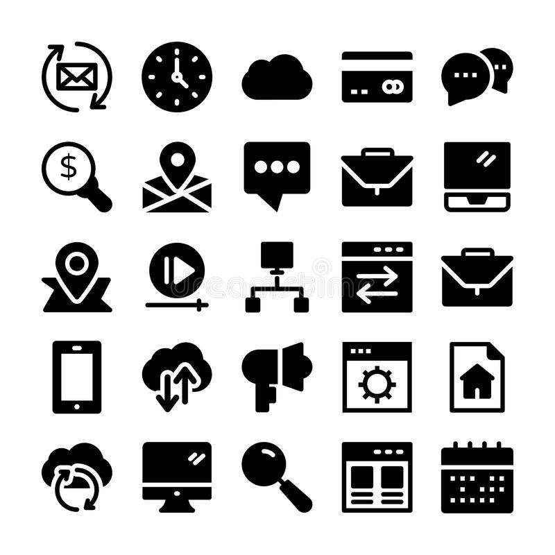 SEO and Marketing Solid Icons 3 royalty free illustration