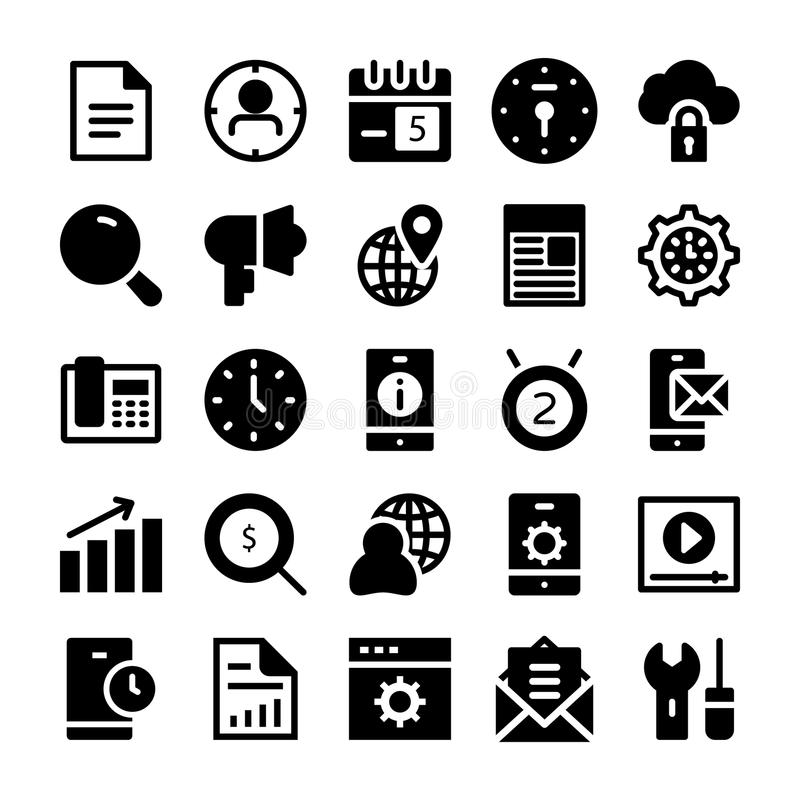 SEO and Marketing Solid Icons 2 stock illustration
