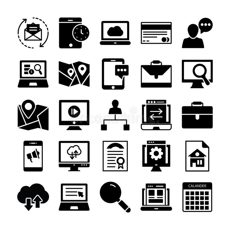 SEO and Marketing Solid Icons 3 stock illustration