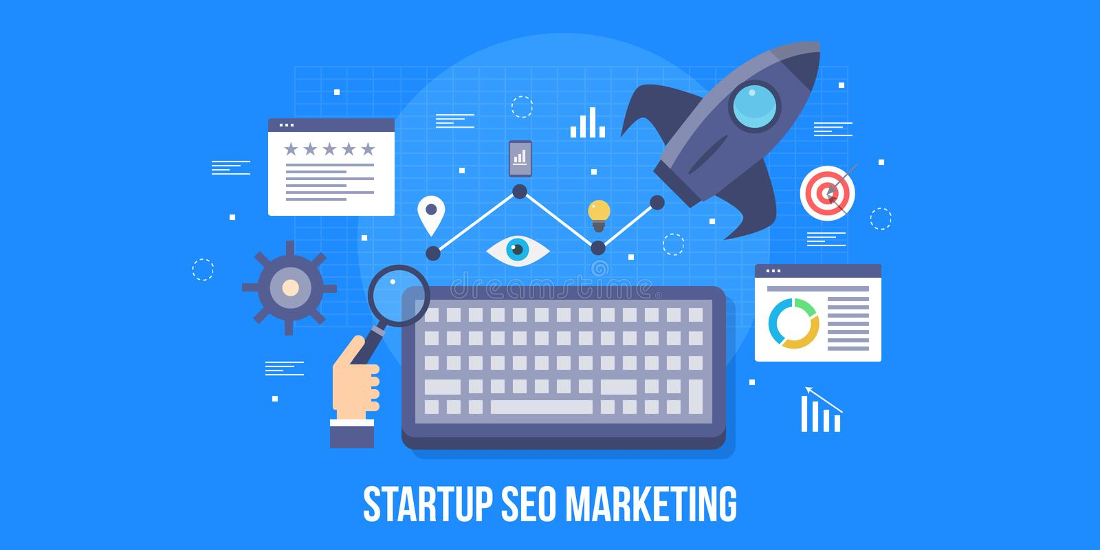 Startup business, search engine optimization, startup seo, growth hacking, boost startup concept. Flat design vector banner. vector illustration