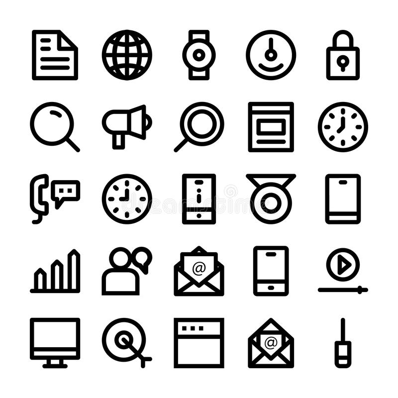 SEO and Marketing Vector Line Icons 2. Set of seo and marketing icons royalty free illustration