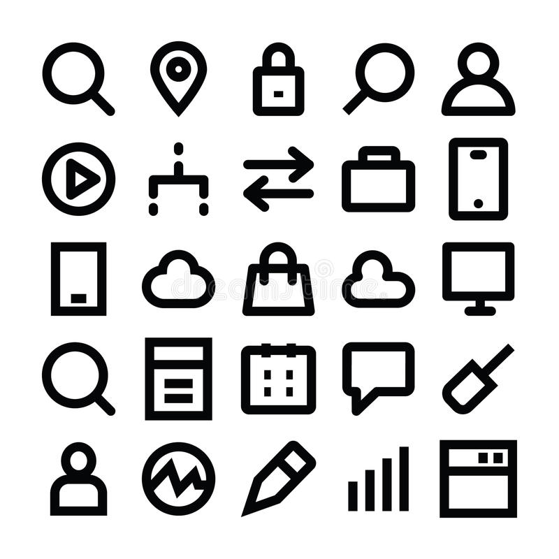 SEO and Marketing Vector Line Icons 3. Set of seo and marketing icons vector illustration