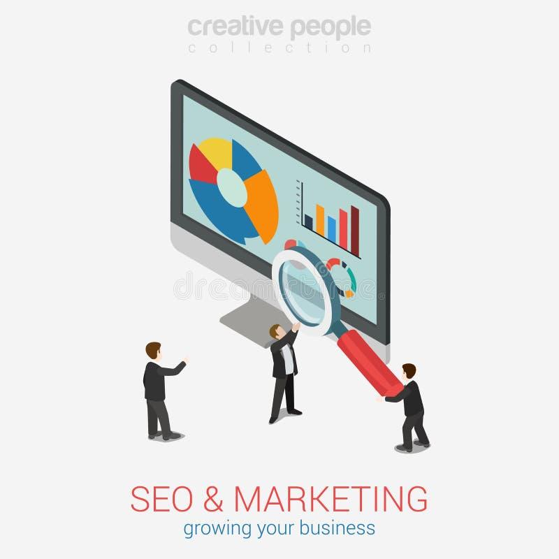 SEO-Marketing-Websiteanalytik berichtet über das flache isometrische Netz 3d lizenzfreie abbildung