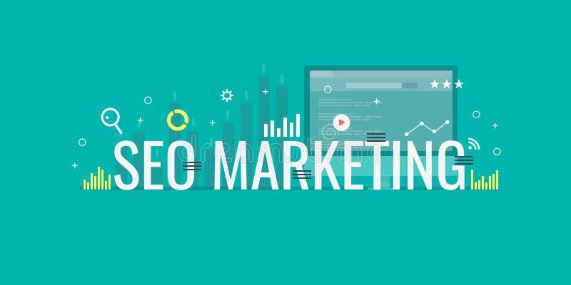 Seo marketing, search engine marketing, internet advertisement, paid media advertising concept. Flat design vector illustration. Seo marketing word in a green vector illustration