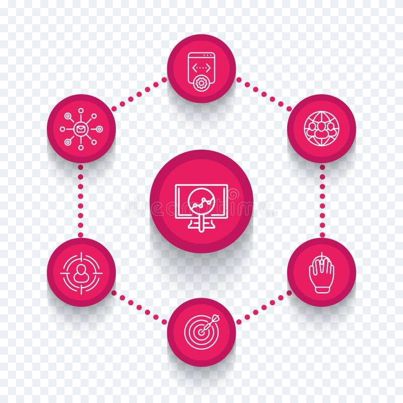 Seo, mercado do Internet, seo utiliza ferramentas a linha ícones ilustração royalty free