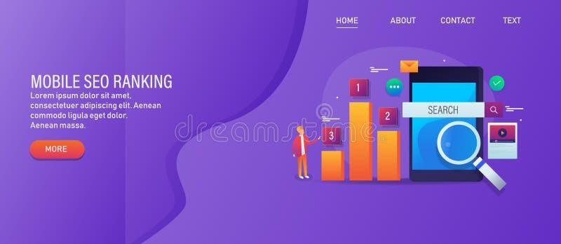 Seo mobile, optimisation de moteur de recherche pour des affaires en ligne, analyse de résultat de rang de recherche, grade de si illustration libre de droits
