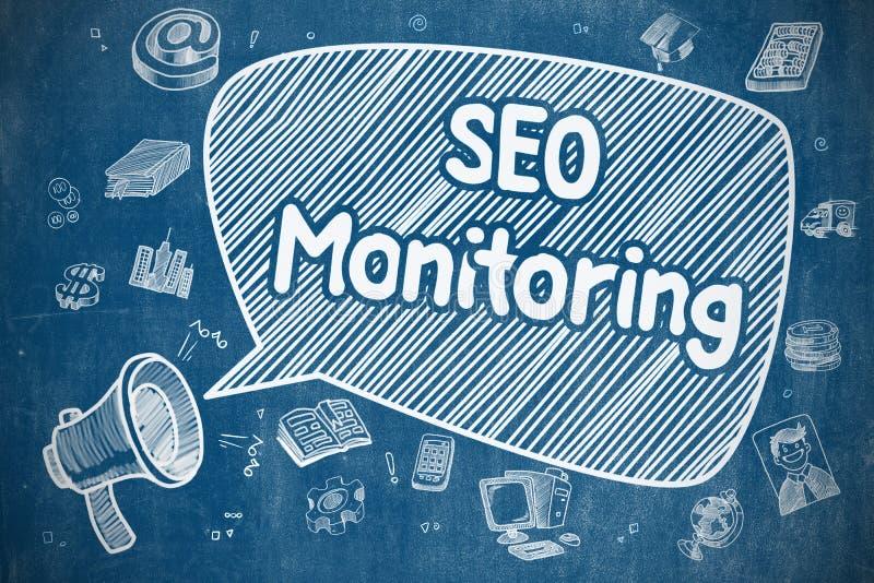 SEO Monitoring - ejemplo dibujado mano en la pizarra azul ilustración del vector