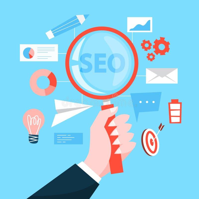 SEO o concetto di ottimizzazione del motore di ricerca Strategia di marketing illustrazione di stock