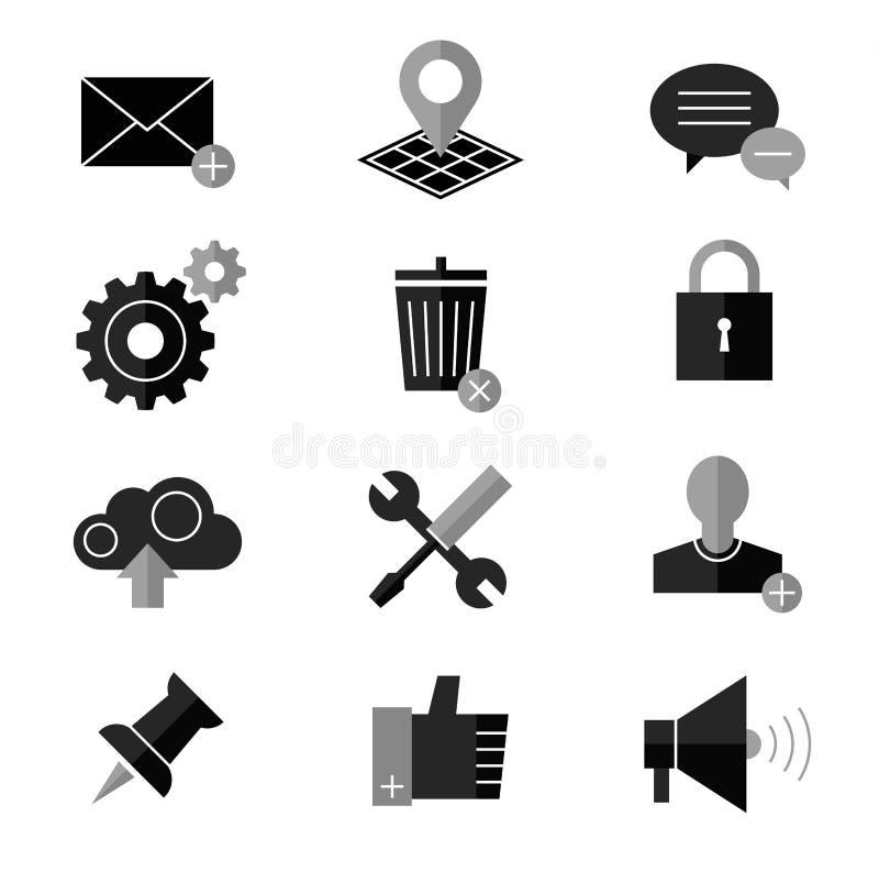 SEO och internetvektorsymbolen ställde in rengöringsduken, website royaltyfri illustrationer