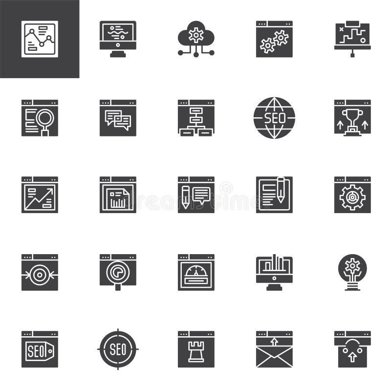 SEO och online-uppsättning för marknadsföringsvektorsymboler royaltyfri illustrationer