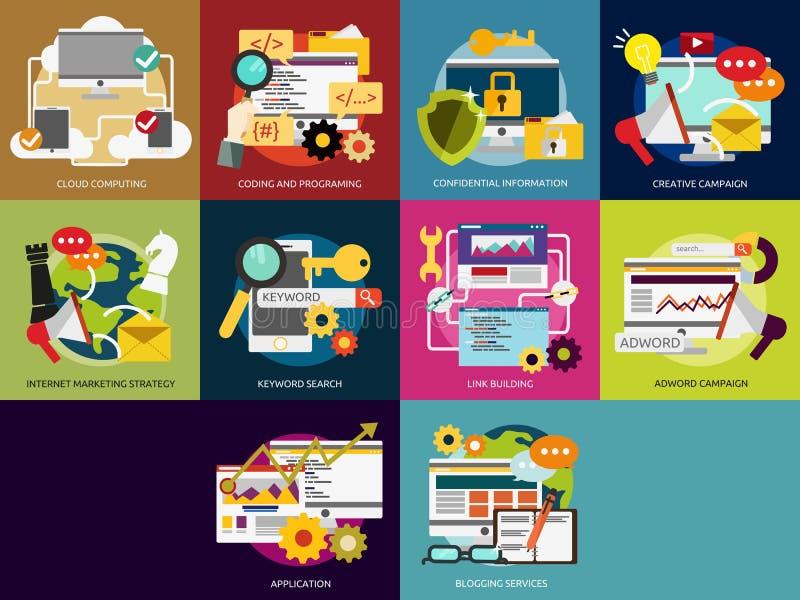 SEO och utveckling royaltyfri illustrationer