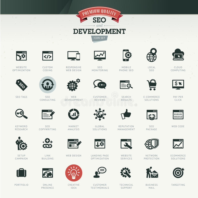 Seo och utvecklingssymbolsuppsättning stock illustrationer