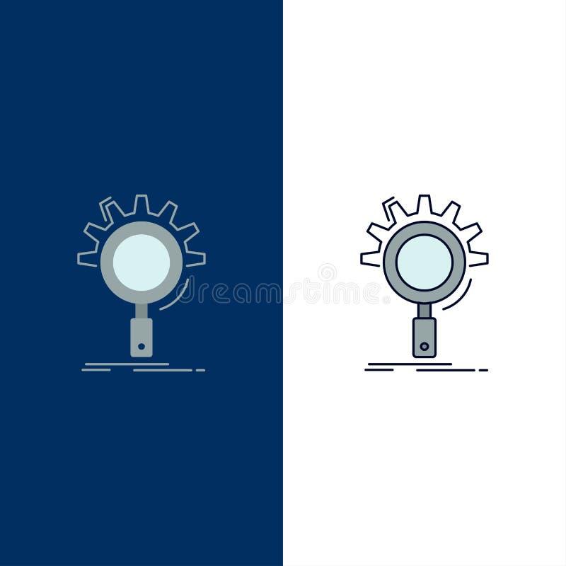 seo, onderzoek, optimalisering, proces, de plaatsende Vlakke Vector van het Kleurenpictogram royalty-vrije illustratie