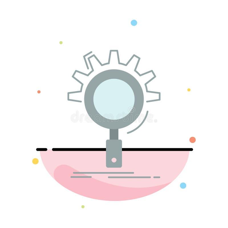 seo, onderzoek, optimalisering, proces, de plaatsende Vlakke Vector van het Kleurenpictogram stock illustratie