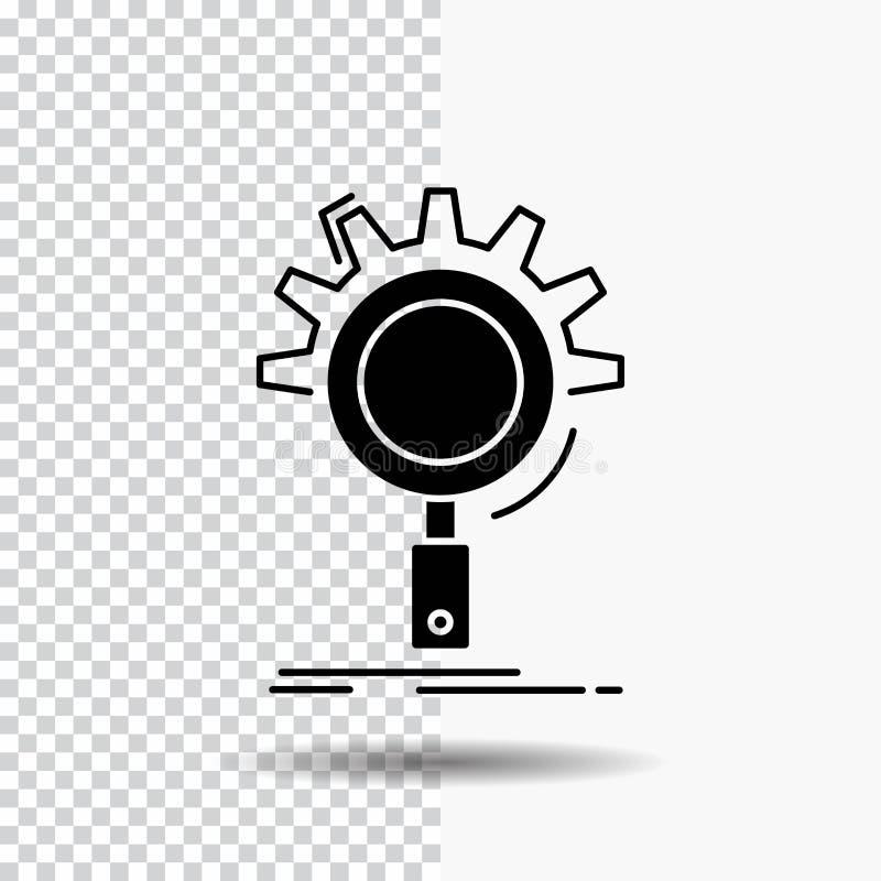seo, onderzoek, optimalisering, proces, het plaatsen Glyph Pictogram op Transparante Achtergrond Zwart pictogram royalty-vrije illustratie