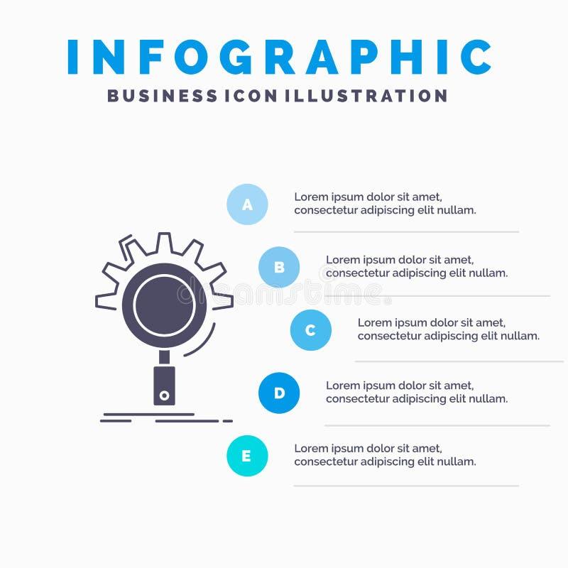 seo, onderzoek, optimalisering, proces, het plaatsen Infographics Malplaatje voor Website en Presentatie GLyph Grijs pictogram me royalty-vrije illustratie