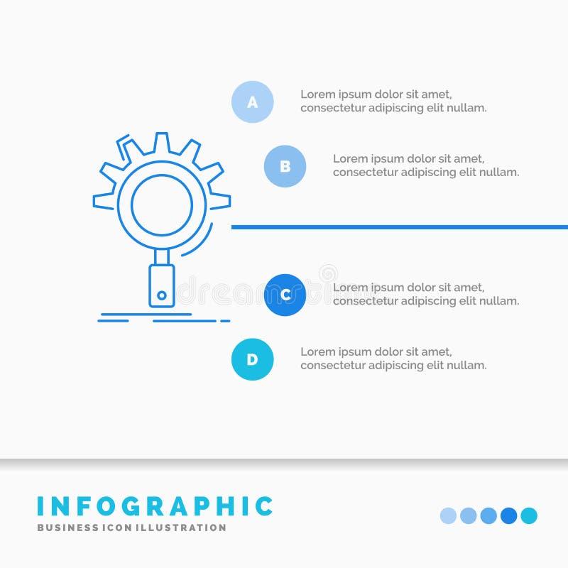 seo, onderzoek, optimalisering, proces, het plaatsen Infographics Malplaatje voor Website en Presentatie Infographic stijl van he stock illustratie