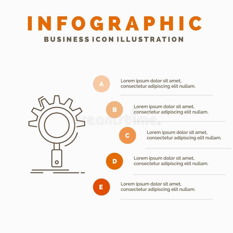 seo, onderzoek, optimalisering, proces, het plaatsen Infographics Malplaatje voor Website en Presentatie Lijn Grijs pictogram met royalty-vrije illustratie