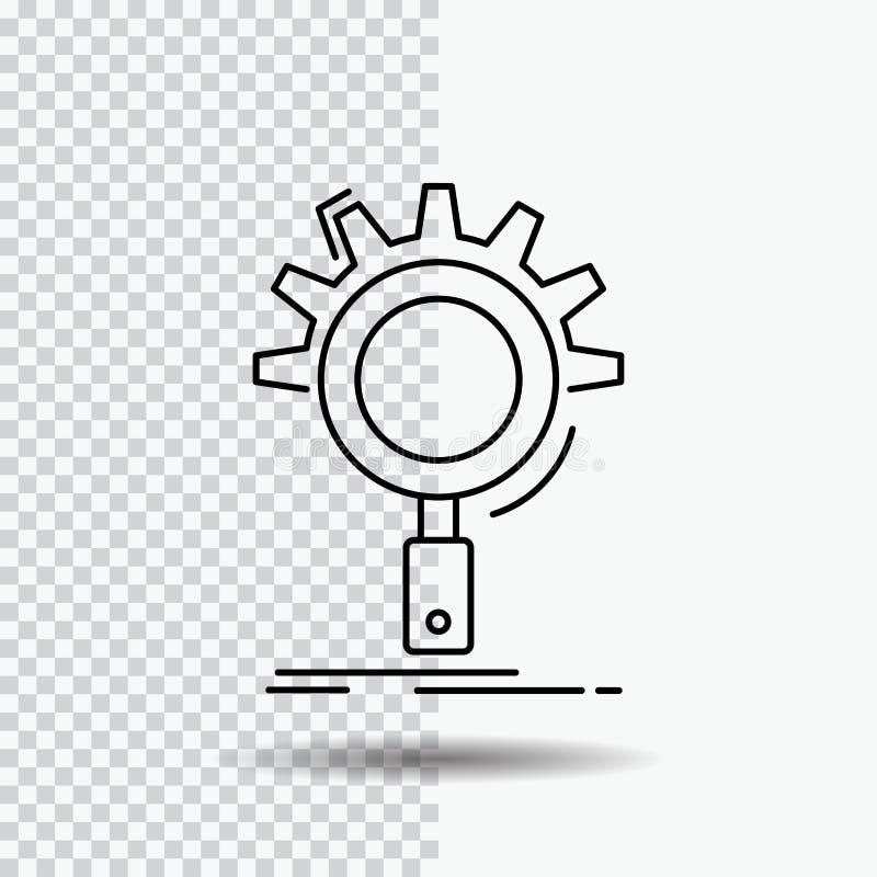 seo, onderzoek, optimalisering, proces, het plaatsen Lijnpictogram op Transparante Achtergrond Zwarte pictogram vectorillustratie stock illustratie