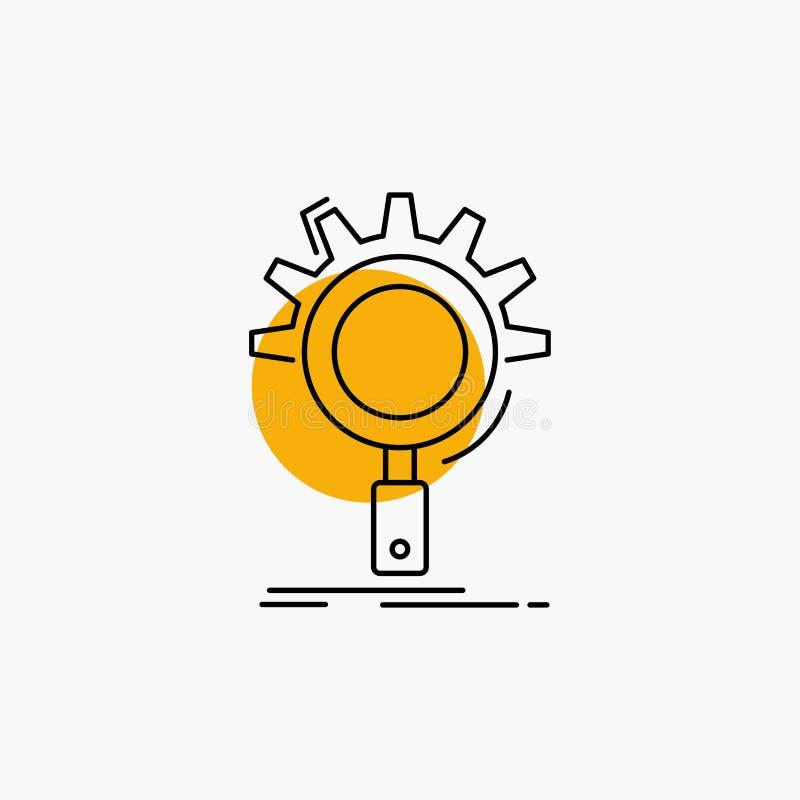 seo, onderzoek, optimalisering, proces, het plaatsen Lijnpictogram stock illustratie