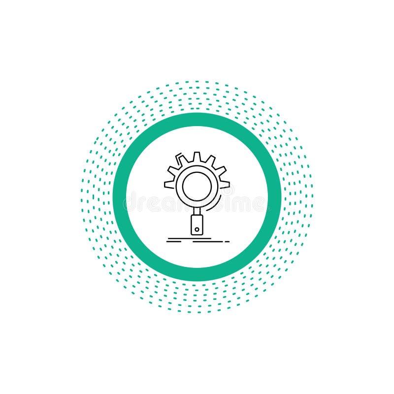 seo, onderzoek, optimalisering, proces, het plaatsen Lijnpictogram Vector ge?soleerde illustratie vector illustratie
