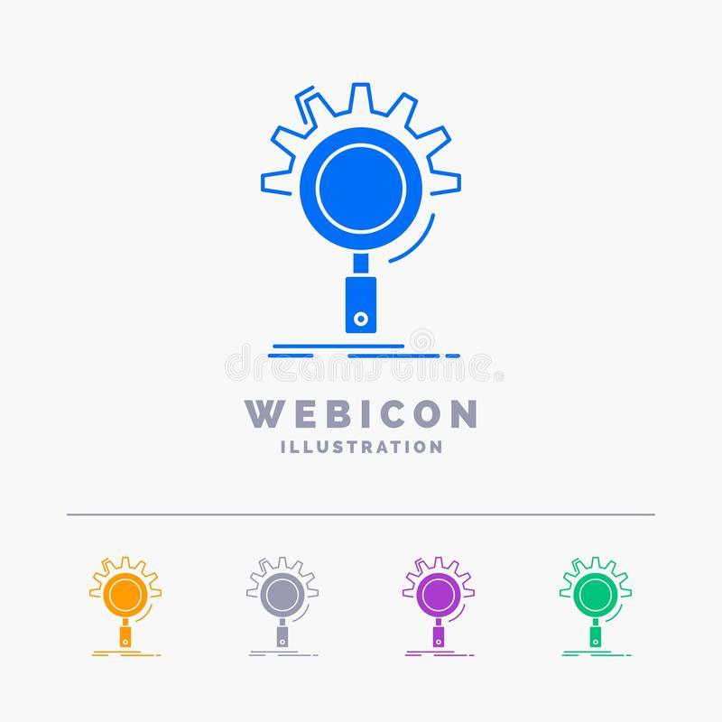 seo, onderzoek, optimalisering, proces, het plaatsen het Malplaatje van het het Webpictogram van 5 die Kleurenglyph op wit wordt  stock illustratie