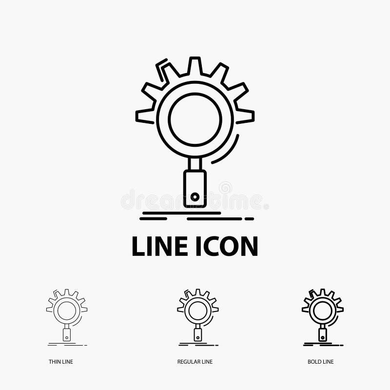 seo, onderzoek, optimalisering, proces, het plaatsen Pictogram in Dunne, Regelmatige en Gewaagde Lijnstijl Vector illustratie vector illustratie