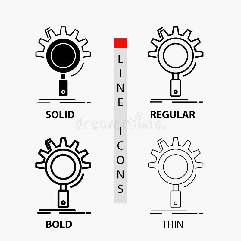 seo, onderzoek, optimalisering, proces, het plaatsen Pictogram in Dunne, Regelmatige, Gewaagde Lijn en Glyph-Stijl Vector illustr stock illustratie