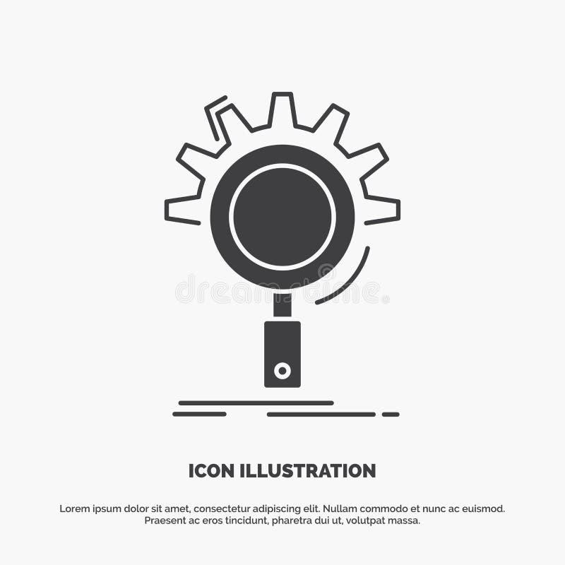 seo, onderzoek, optimalisering, proces, het plaatsen Pictogram glyph vector grijs symbool voor UI en UX, website of mobiele toepa royalty-vrije illustratie