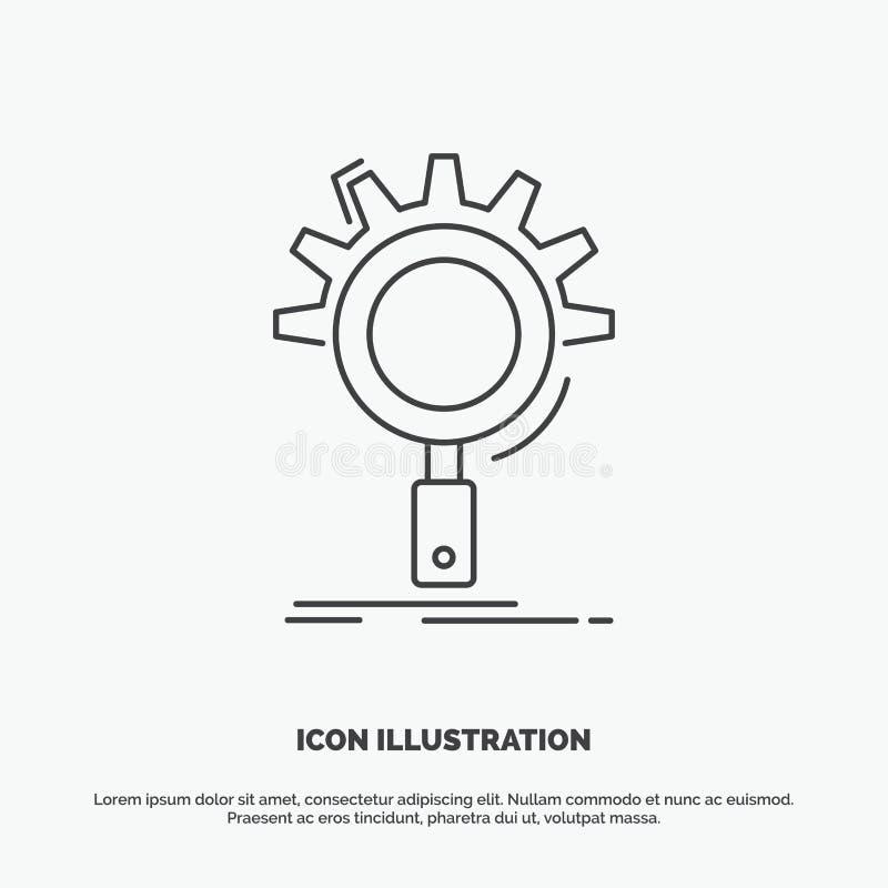 seo, onderzoek, optimalisering, proces, het plaatsen Pictogram Lijn vector grijs symbool voor UI en UX, website of mobiele toepas vector illustratie