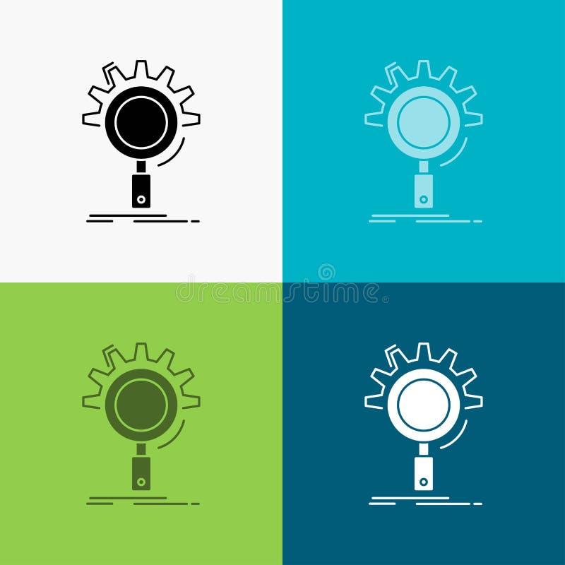 seo, onderzoek, optimalisering, proces, het plaatsen Pictogram over Diverse Achtergrond glyph stijlontwerp, voor Web dat en app w vector illustratie