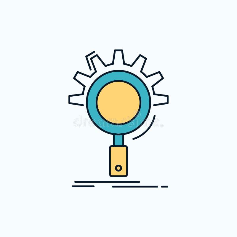 seo, onderzoek, optimalisering, proces, het plaatsen Vlak Pictogram groene en Gele teken en symbolen voor website en Mobiele appl vector illustratie