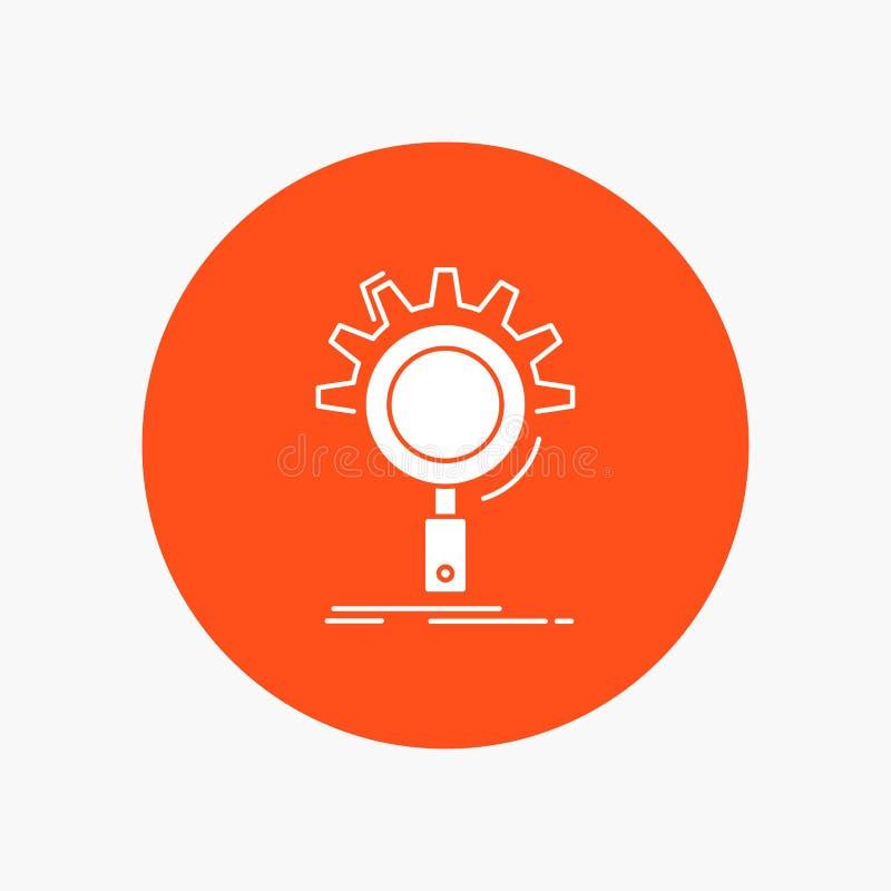 seo, onderzoek, optimalisering, proces, het plaatsen Wit Glyph Pictogram in Cirkel Vectorknoopillustratie vector illustratie