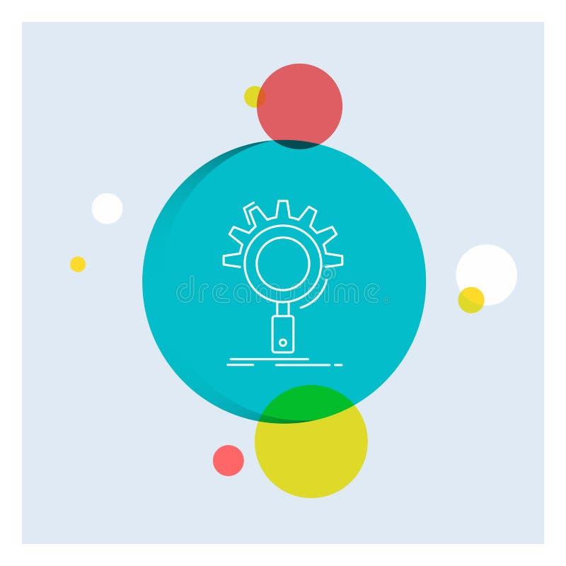 seo, onderzoek, optimalisering, proces, het plaatsen Wit Lijnpictogram kleurrijke Cirkelachtergrond stock illustratie