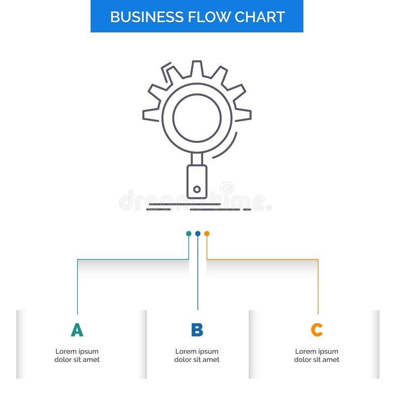 seo, onderzoek, optimalisering, proces, het plaatsende Ontwerp van de Bedrijfsstroomgrafiek met 3 Stappen Lijnpictogram voor Pres stock illustratie