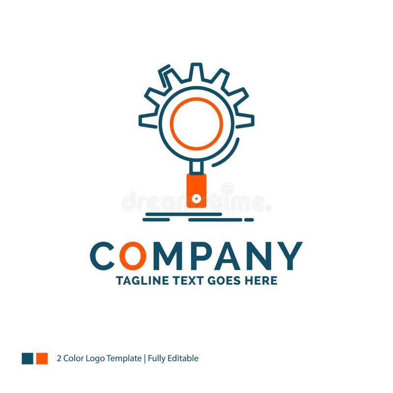 seo, onderzoek, optimalisering, proces, plaatsend Logo Design Blauw stock illustratie
