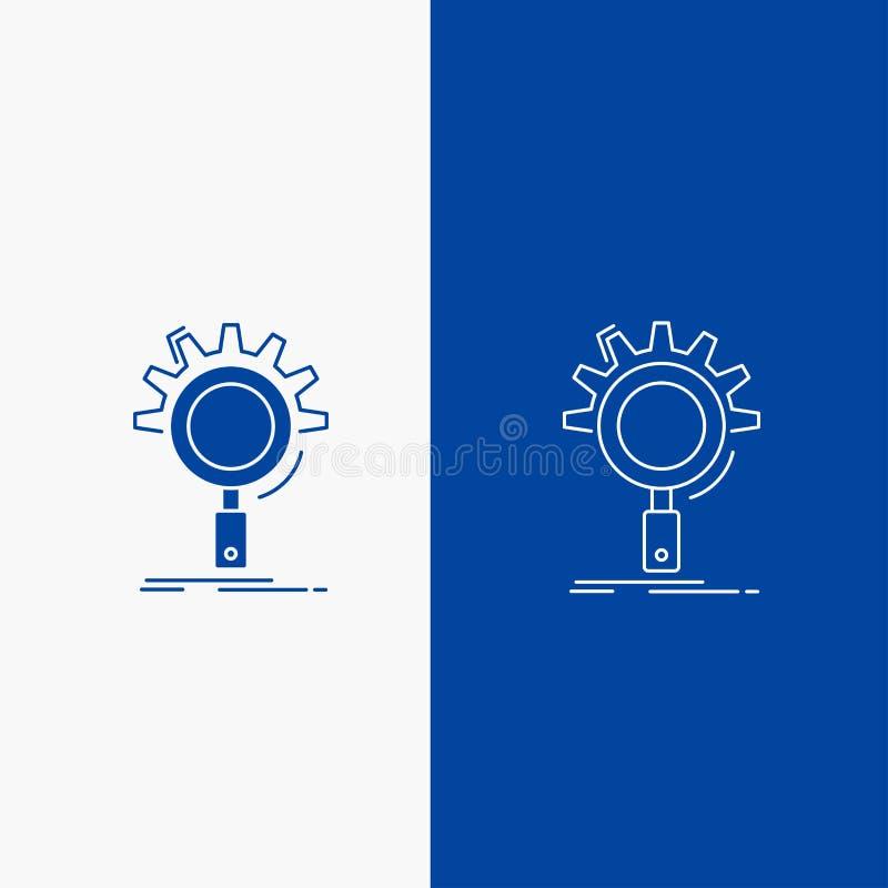 seo, onderzoek, optimalisering, proces, plaatsende Lijn en Glyph-Webknoop in Blauwe kleuren Verticale Banner voor UI en UX, websi royalty-vrije illustratie