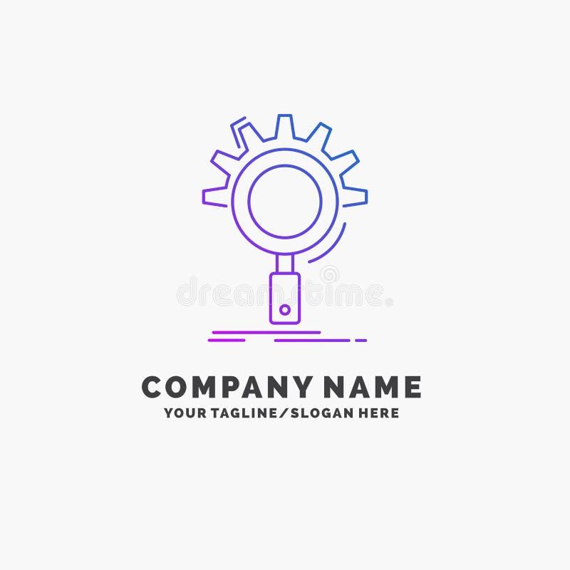 seo, onderzoek, optimalisering, proces, plaatsende Purpere Zaken Logo Template Plaats voor Tagline vector illustratie