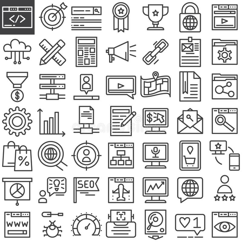 Seo online marketing line icons set stock illustration